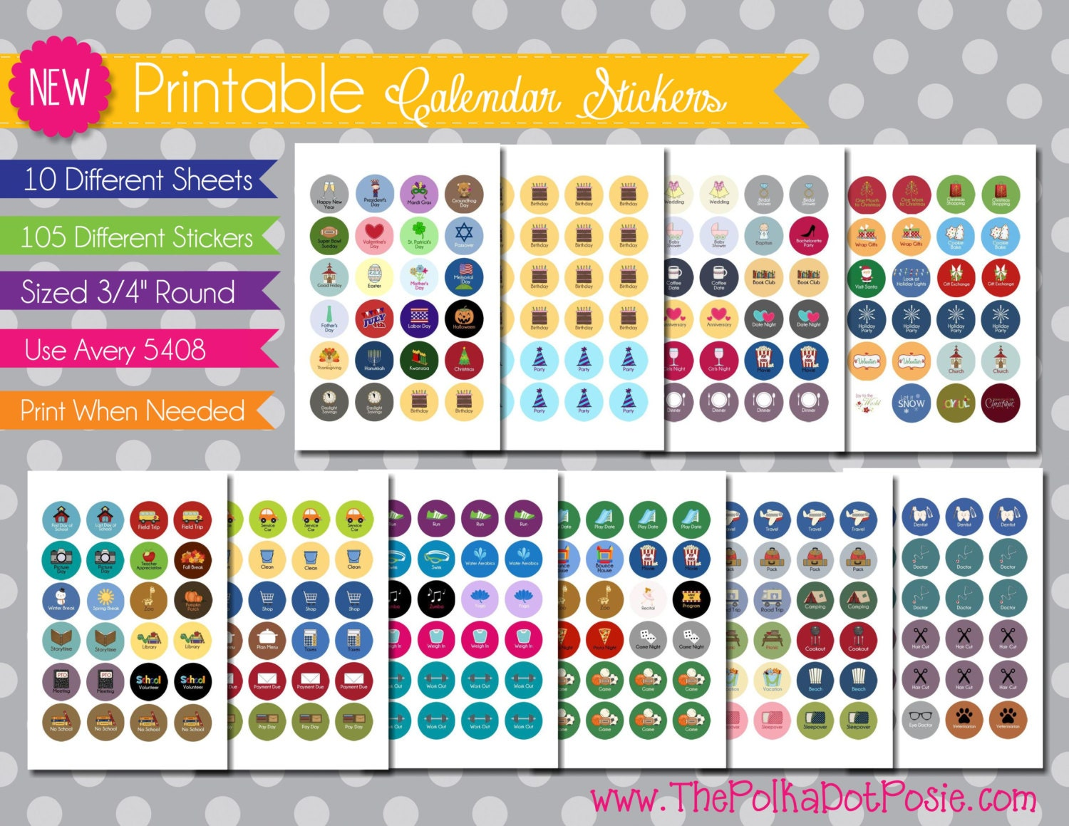 "NEW {Printable} Calendar and Planner Stickers - 3/4"" Circle - INSTANT ..."