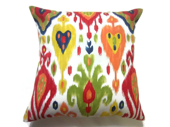 Decorative Pillow Cover Red Green Orange by LynnesThisandThat