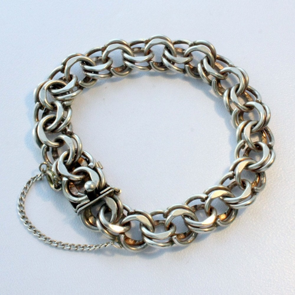 Vintage double link sterling silver charm bracelet by mybooms