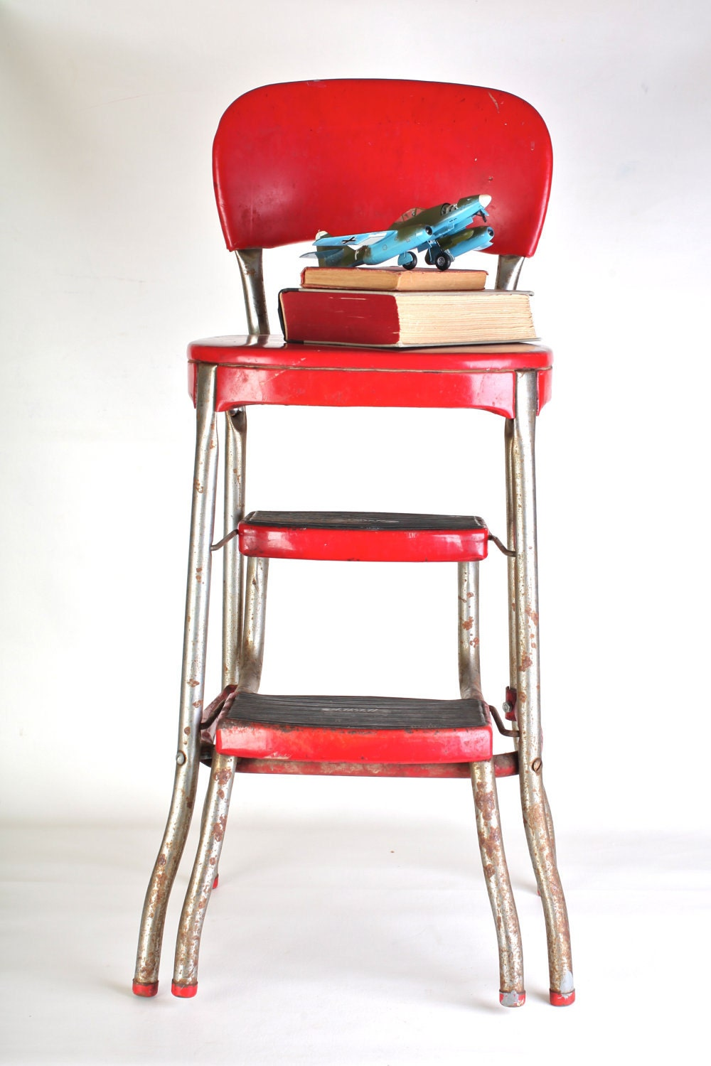 Cosco Fold Out Red Step Stool Chair 1950s Tall By