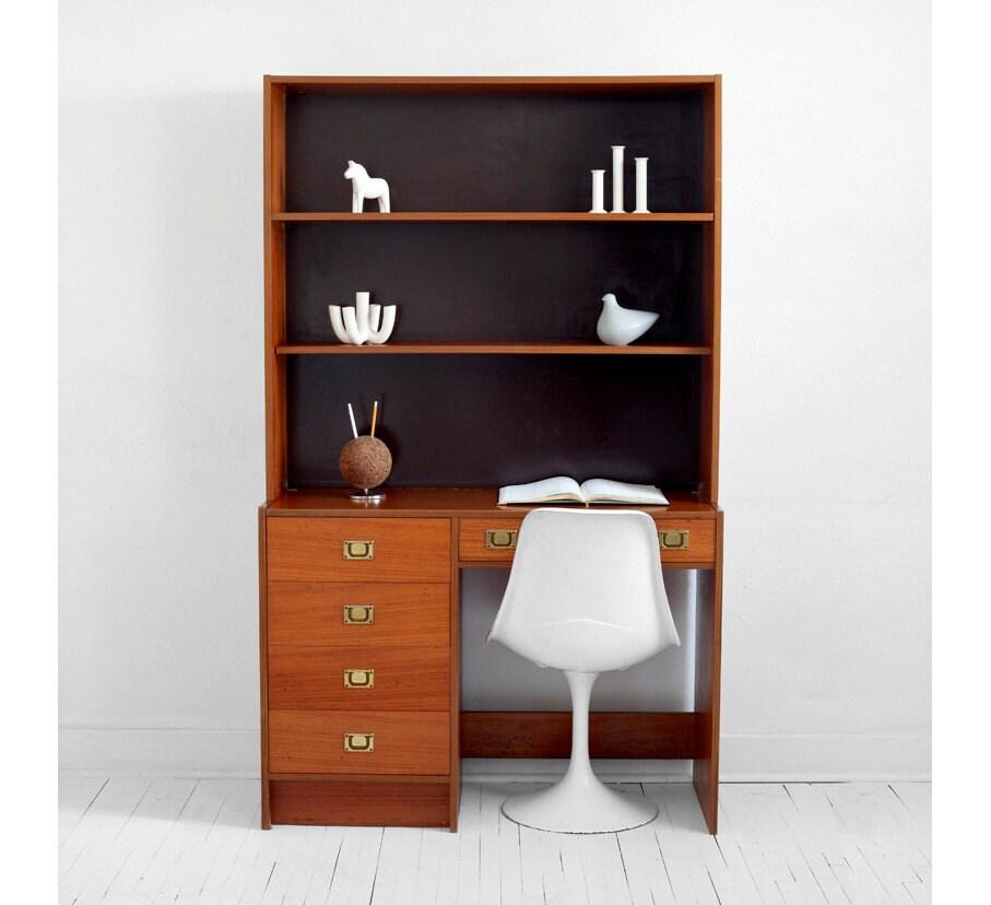 Items similar to mid century danish teak office desk modern wood eames retro denmark on etsy - Teak office desk ...