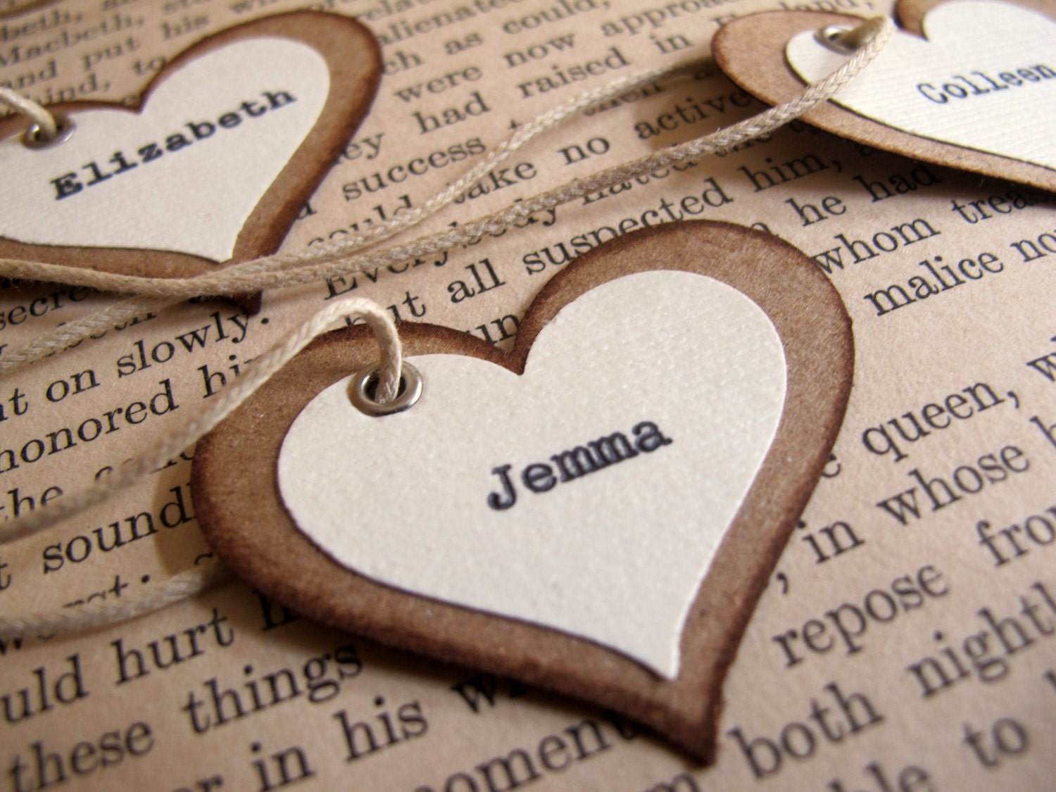 Items similar to Unique Wedding Place Card Favor TagsRustic ...