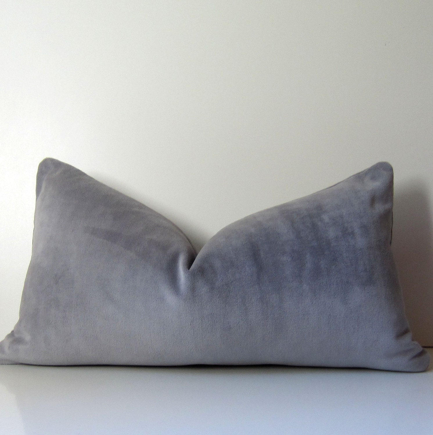 Gray pillow - Decorative Pillow Cover -  12 x 22 inch - Lumbar - Gray velvet - lavender - heavy weight velvet - ready to ship - studiotullia