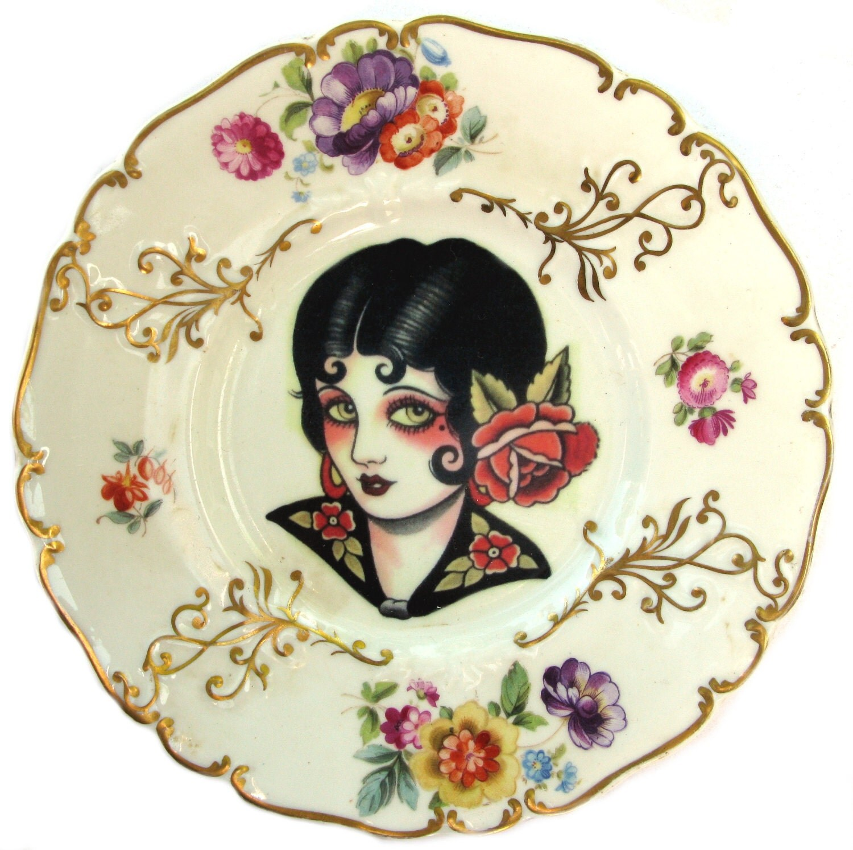 SALE - Gypsy Rose - Vintage Tattoo Flash - Altered Vintage PlateVintage Gypsy Tattoo