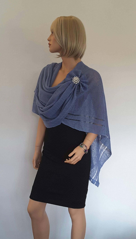 Knit Linen Poncho. Blue Sky colour Linen Womens Shawl Wrap Poncho Shrug Bridal Bridesmaid Womens  poncho Occasion summer  wear one size