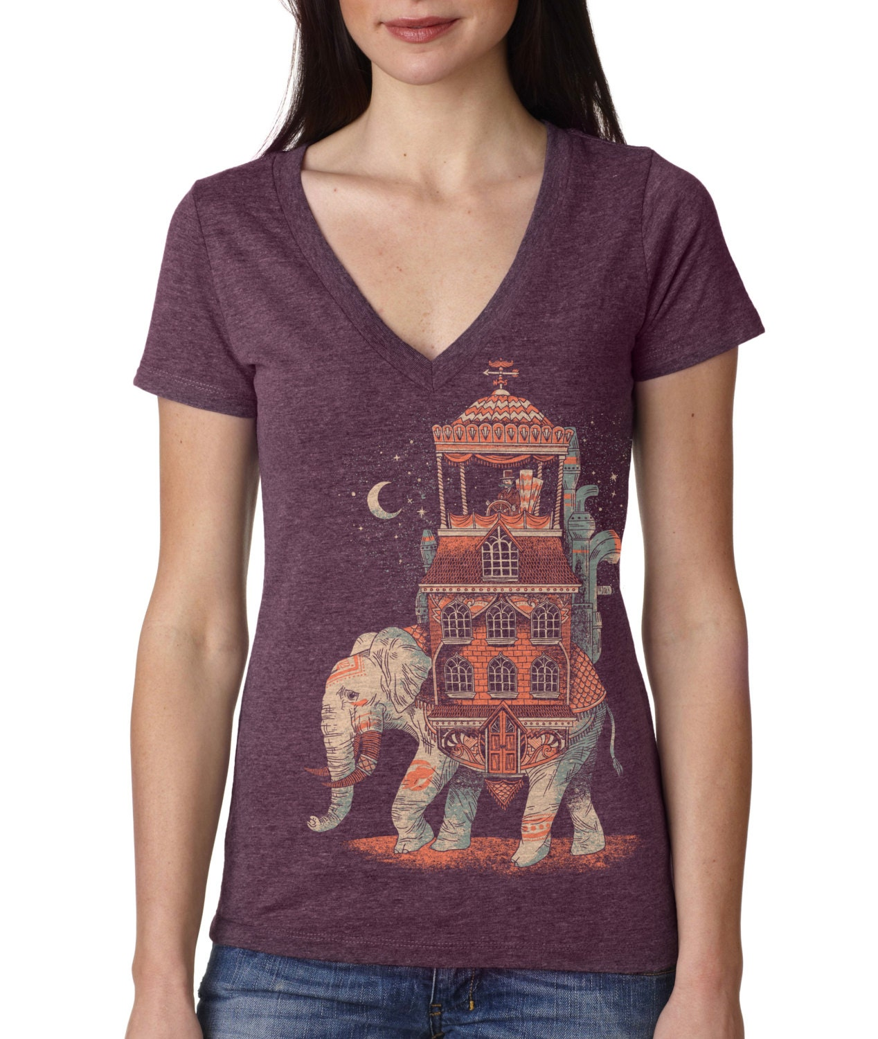Womens Elephant Traveler T Shirt, India, Animal VNeck, Vintage, Purple, Available in S M L XL XXL - FuzzyInk