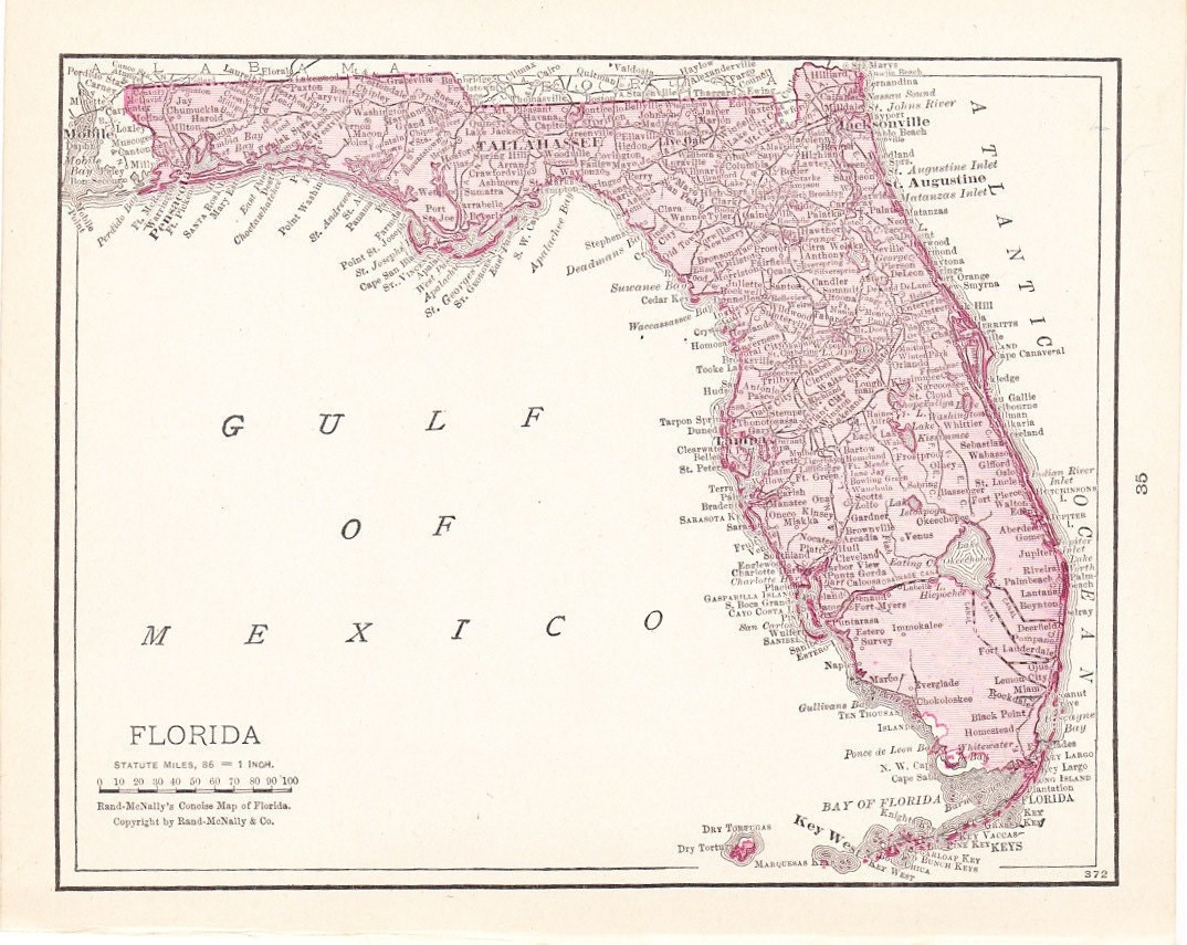 1916 State Map Florida - Vintage Antique Map Great for Framing