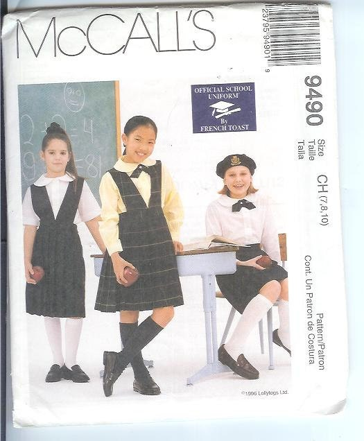 ... Blouse and Tie Sewing Pattern 9490 Size CH 7-8-10 School Uniform UNCUT