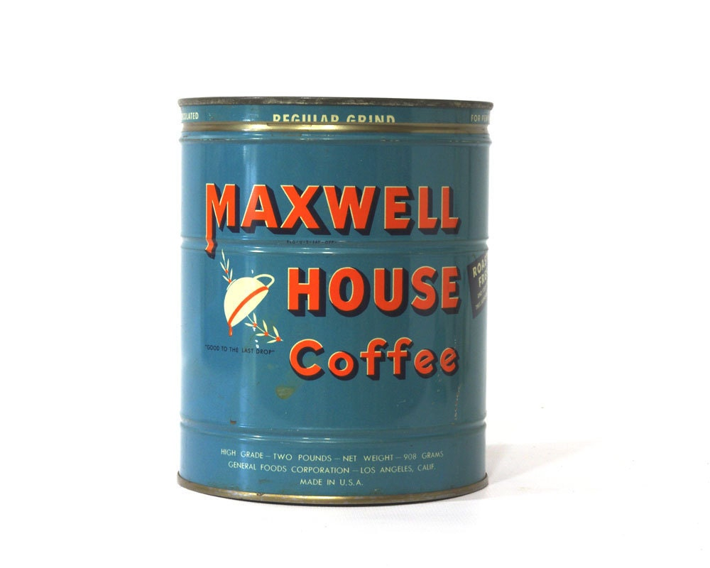 Vintage Maxell House Coffee Can, 2 Pound, 1940s Blue Orange - GizmoandHooHa