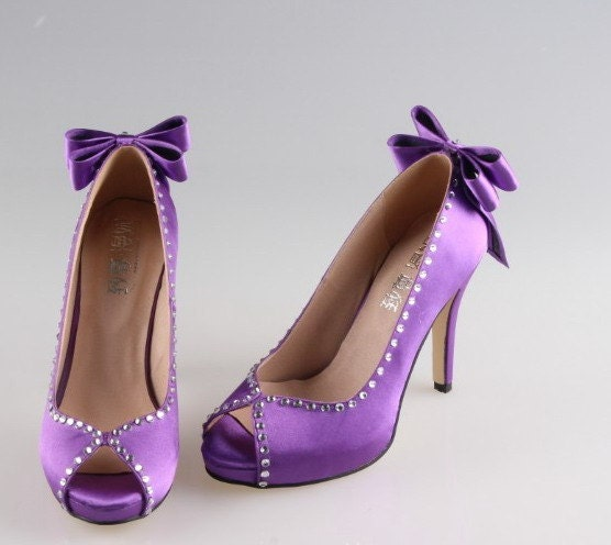 Royal purple crystal shoes with bow