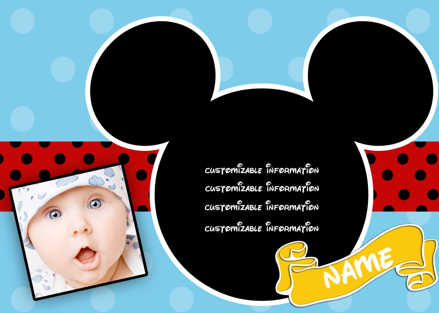 items similar to mickey mouse personalized birthday party invitations on etsy