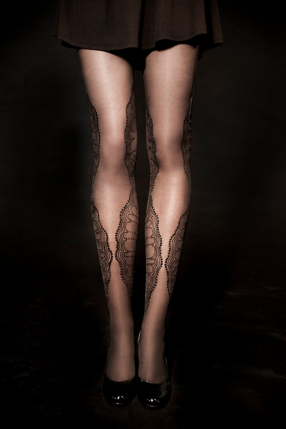 SALE - Hand printed sheer tights, La Boheme black+gold, Flash Back collection - galstern