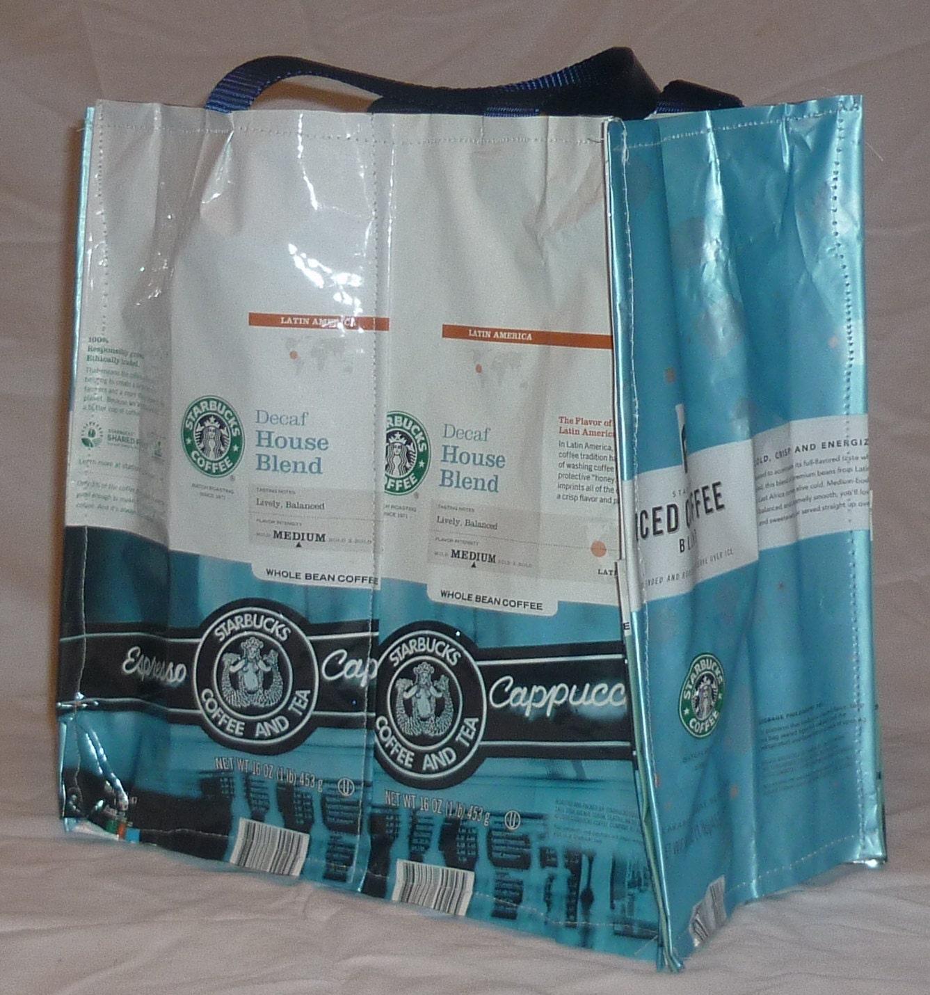 Recycled Tote Bag Starbucks Coffee Bean Bag - Decaf House, Iced Coffee ...