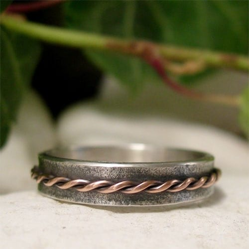 Rustic Copper  Silver Ring Band Organic Textured Silver Copper Twisted Wire Rope Hand Forged Mixed Metal Ring Unisex Slim Band Ring