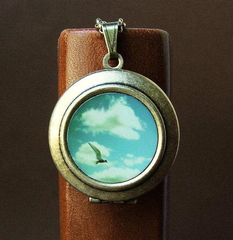 SALE - Photo locket Photo Art Locket Necklace seagull ocean seaside summer blue sky clouds bomobob The Sky Went on Forever - bomobob