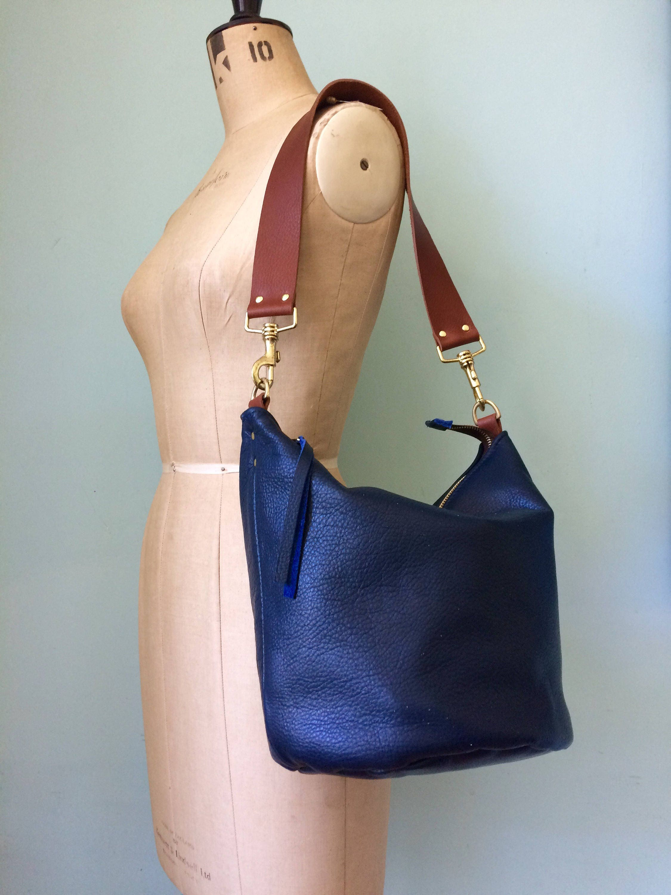 Navy leather bucket bag dark blue bucket handbag blue leather handbag