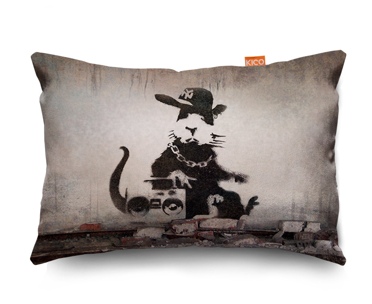 Banksy Rap Rat Sofa Cushion 3 Sizes...