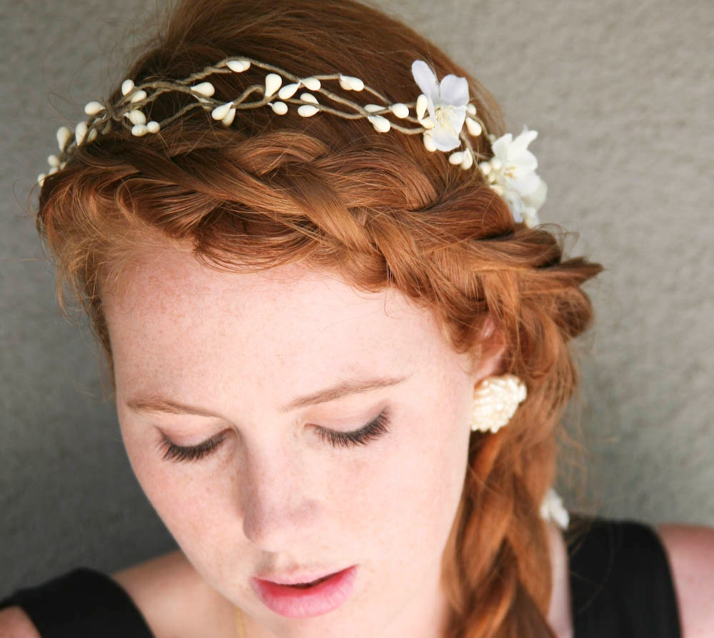 Rustic bridal wreath with ribbon ties, headbands for weddings