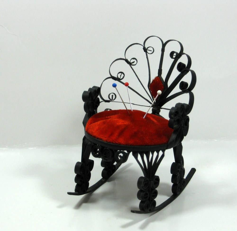 Red Rocking Chair Folk ~ Vintage folk art tin rocking chair pincushion by