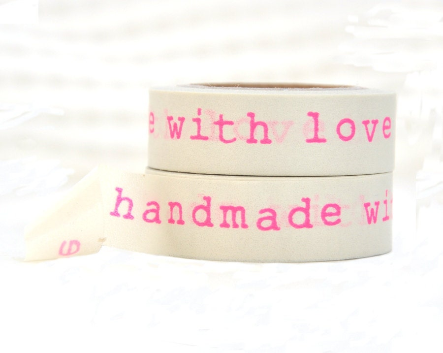 Handmade with Love Washi Tape - Neon Pink Lettering - LaZoie