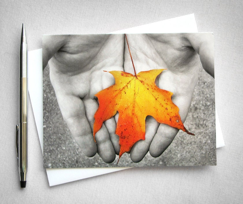 Orange Autumn Leaf in Hands photo card (Life) - RedLetterPaperCo