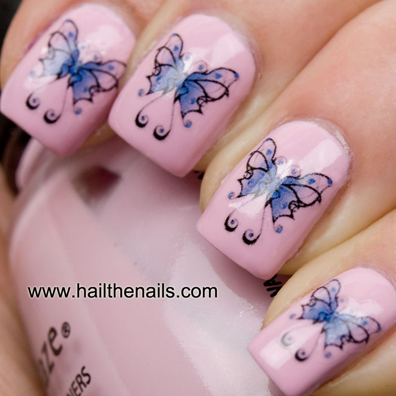 Items Similar To Blue Butterfly Nail Art Water Transfers