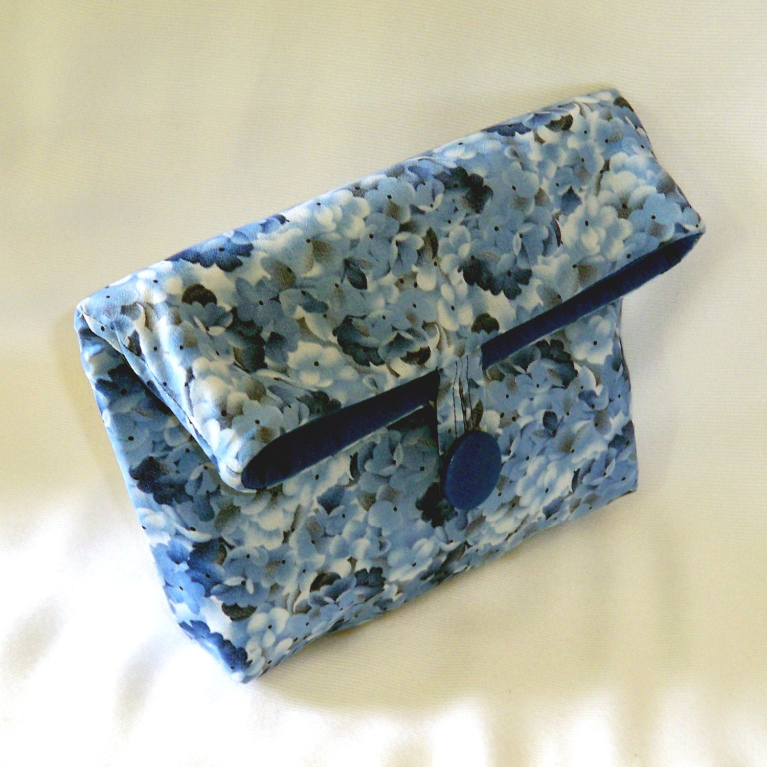Blue Floral Clutch Makeup Bag Cosmetic Bag By ColleensDesigns