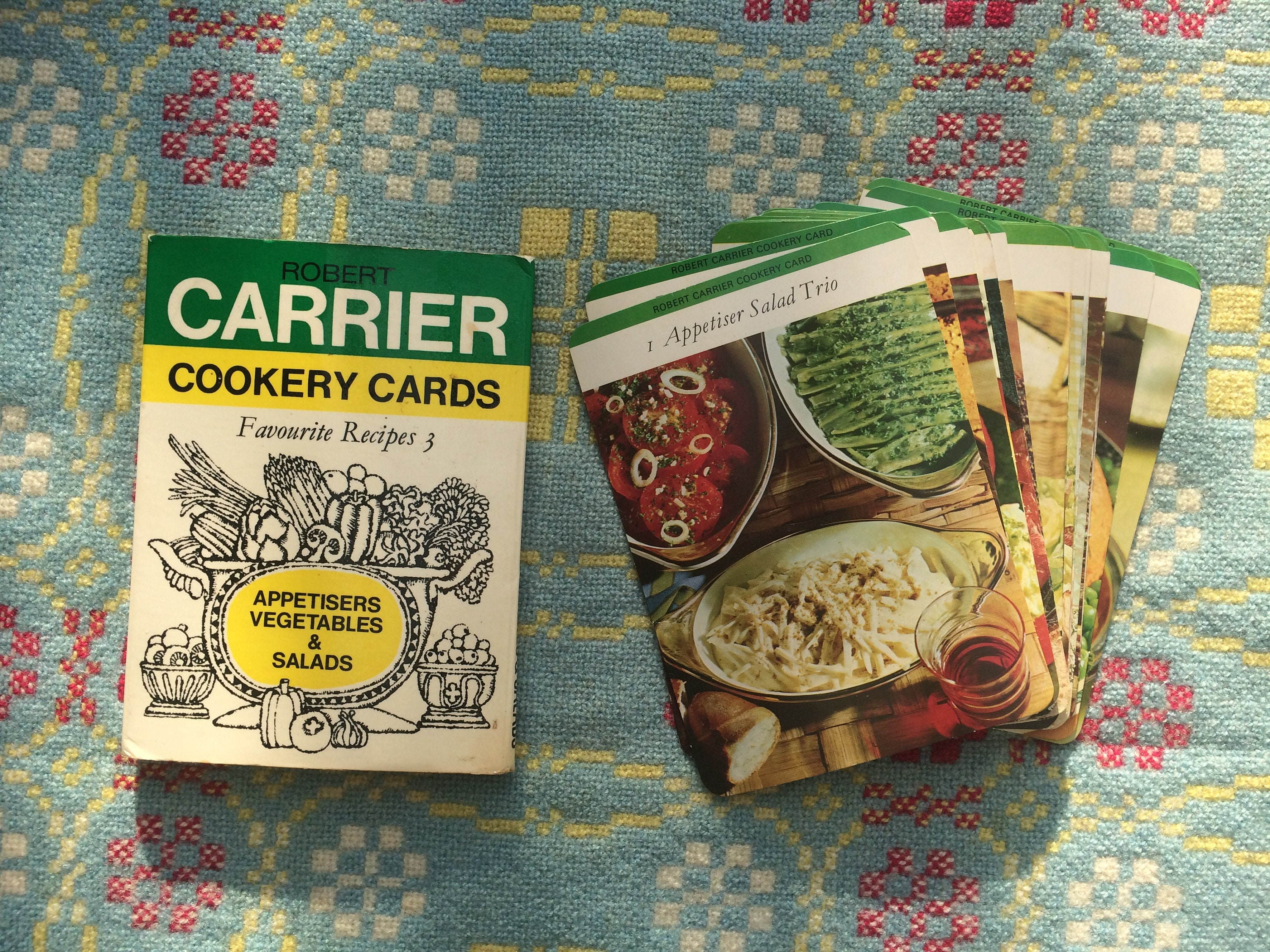 Sixties Recipe Cards  Vintage Robert Carrier Cookery Cards  Appetisers Vegetables and Salads