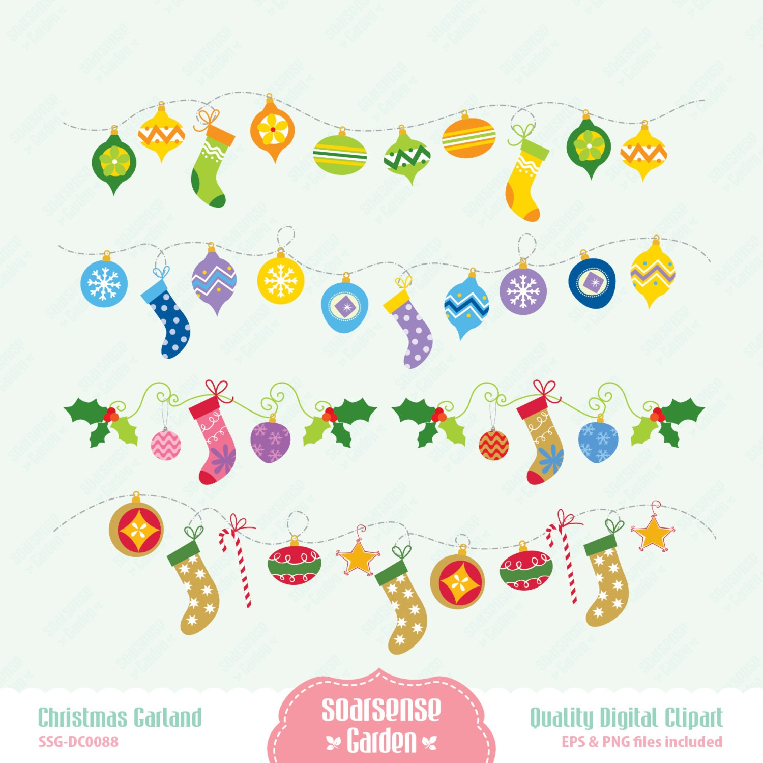 ... Clip Art Christmas garland digital clipart, christmas ornaments clip