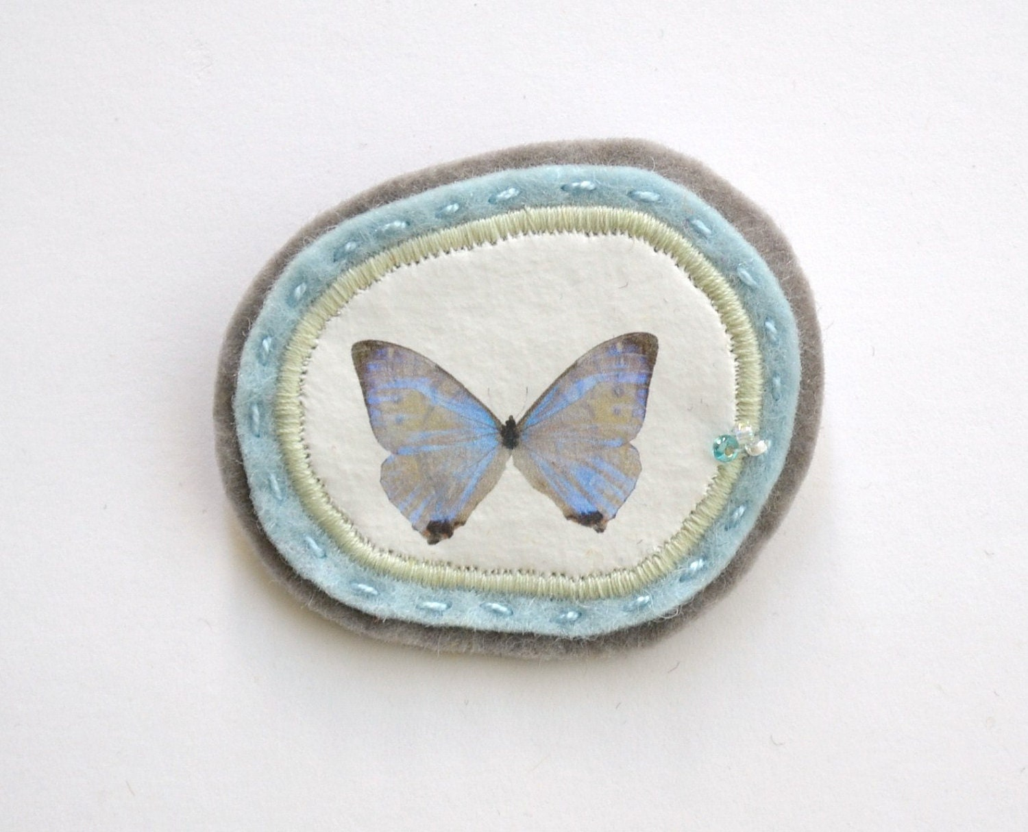 light blue butterfly brooch -minimal - light blue and grey - pin broach - winter garden - redstitchlab