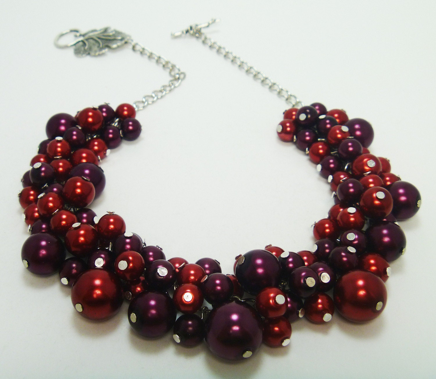 Red and Burgandy Pearl Necklace. Cluster of pearls for weddings, bridesmaids gift, bridal party, bridal jewelry -Cabernet Sauvignon-