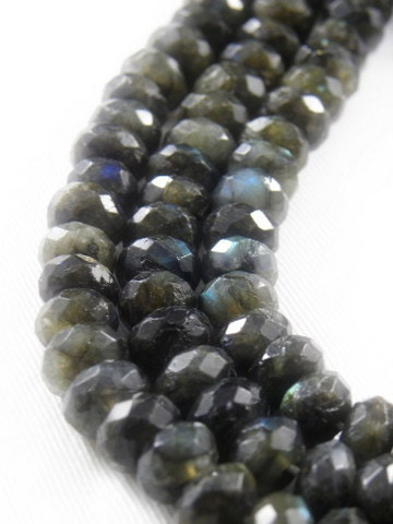 10 pc - AAA High Quality, Natural Labradorite, Faceted Rondelle Beads, 10x6mm