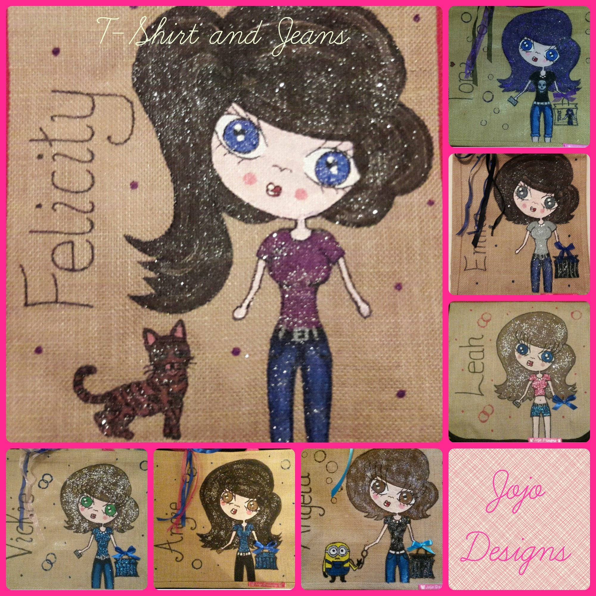 Personalised Mini Me Jute Tote Bag  Jeans and TShirt Design  Hand painted  Any Name or words  Unique Gift