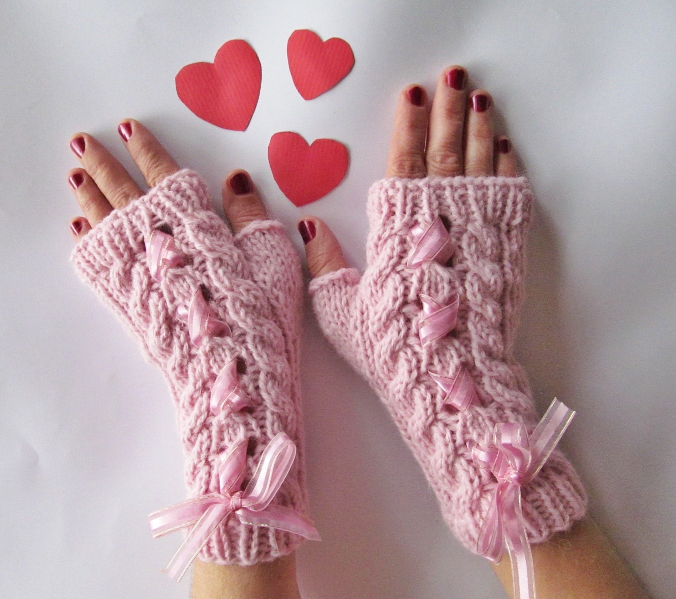 Pale Pink Hand Knitted Arm Warmers Fingerless Gloves, Wool Mittens with Satin Ribbon