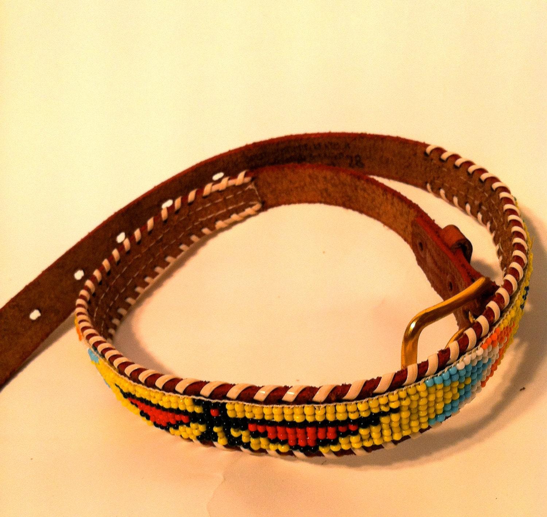 vintage leather navajo beaded belt tribal seed by
