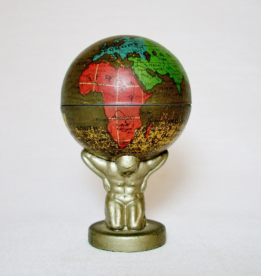 1920's Atlas Holding Up World Globe Pencil by vintagecals ...
