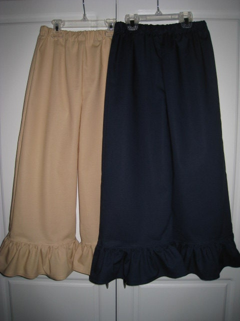 Pair Uniform NAVY and KHAKI Ruffle Pants Girls 6 7 8 Years