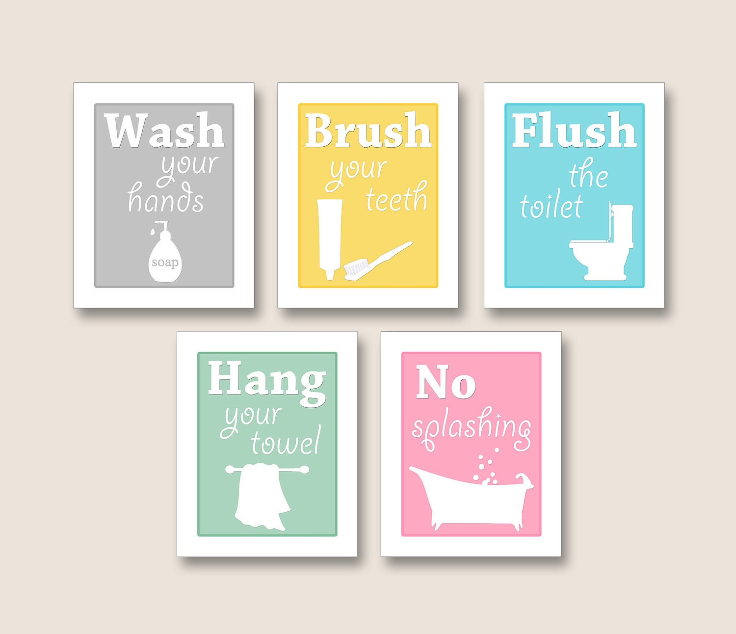 Bathroom Artwork YOU CHOOSE Any Colors Set By FinalTouchesArtwork