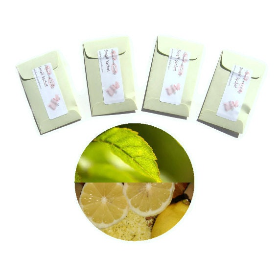 4 Sage Citrus Type Sachets Scented Mens Bath Beauty Fragrance Packets Air Fresheners Rugged Lemon Aromatic Herbs Vegan Small