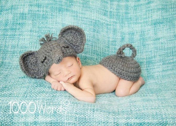Gray elephant set crochet outfit photo by 4thgenerationdesigns