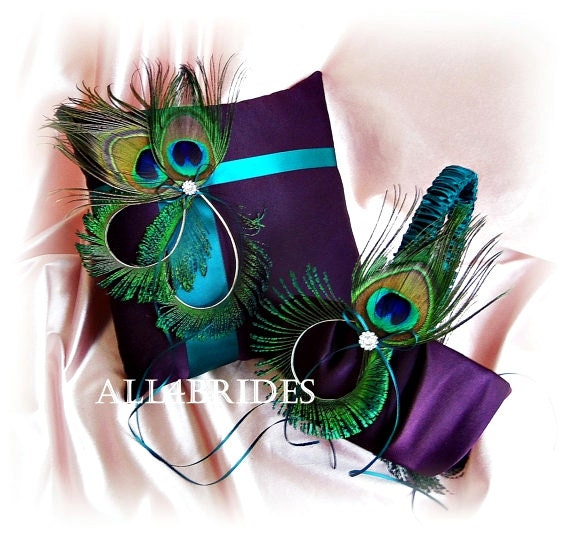 Flower Girl Baskets Peacock : Items similar to peacock weddings purple and teal flower