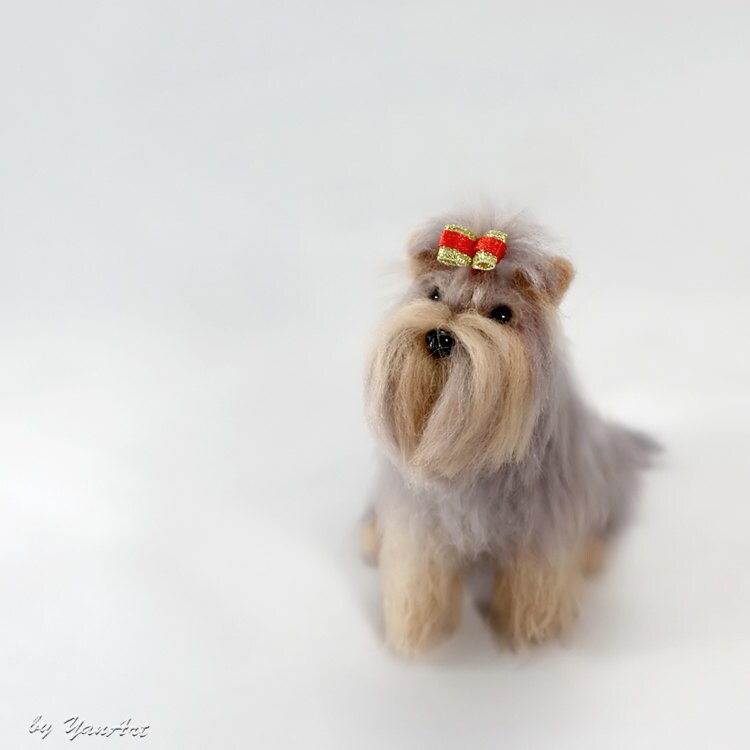 Yorkshire Terrier Haircuts - Custom Realistic Needle Felted Dog   Pet    Yorkshire Terrier Puppy Haircuts