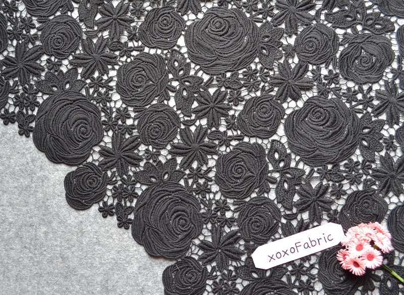 Qmilch lace fabric d rose embroidery n black by xoxofabric