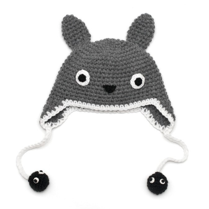Crochet Pattern Totoro Hat : Crochet Totoro Hat with Soot sprites Available from by mokka7