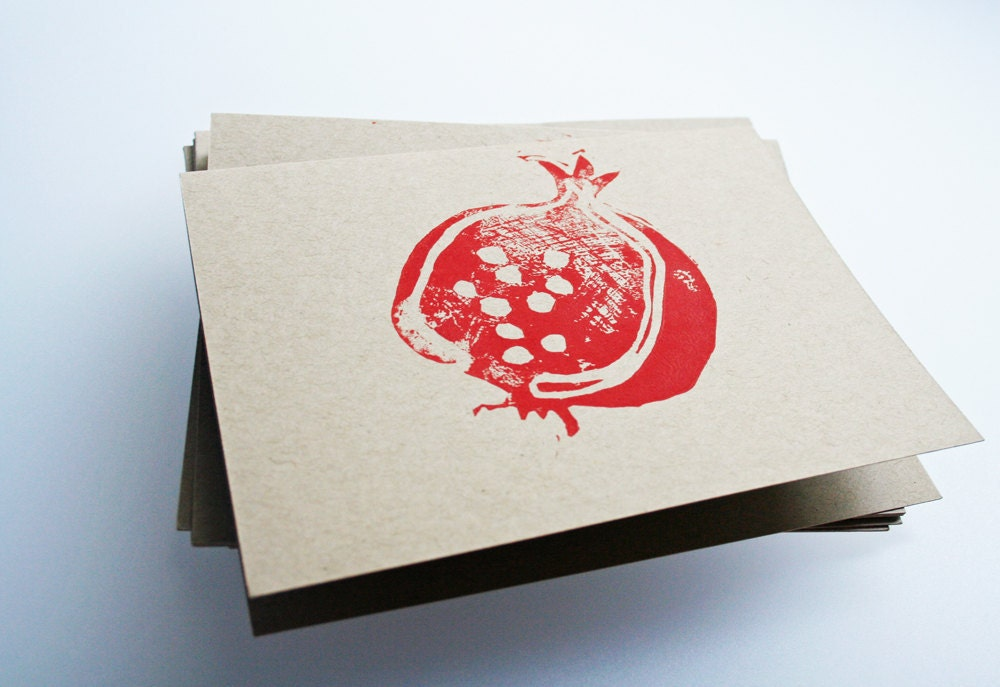 Pomegranate. Linocut block print.