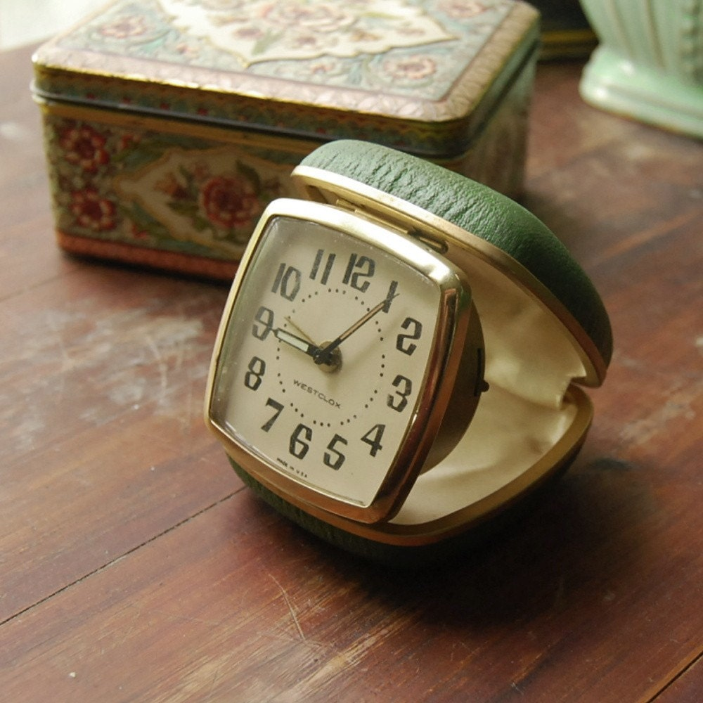 vintage westclox travel alarm clock still works by. Black Bedroom Furniture Sets. Home Design Ideas