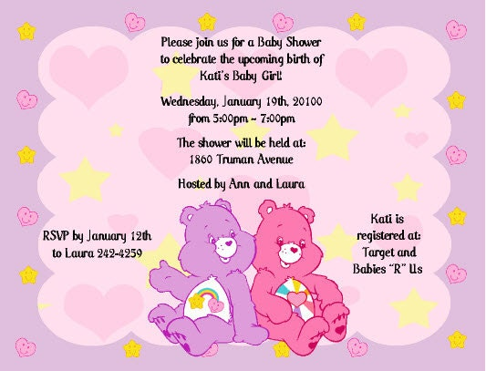 Items similar to Care Bears Invitations Baby Shower or Birthday MANY CHOICES on Etsy
