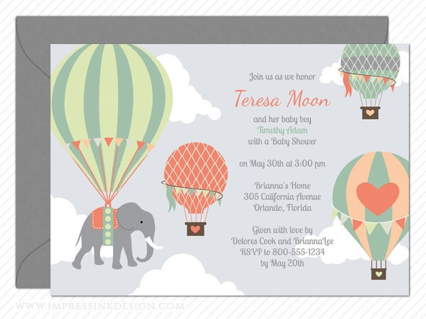 hot air balloon elephant baby shower invitation by impressink