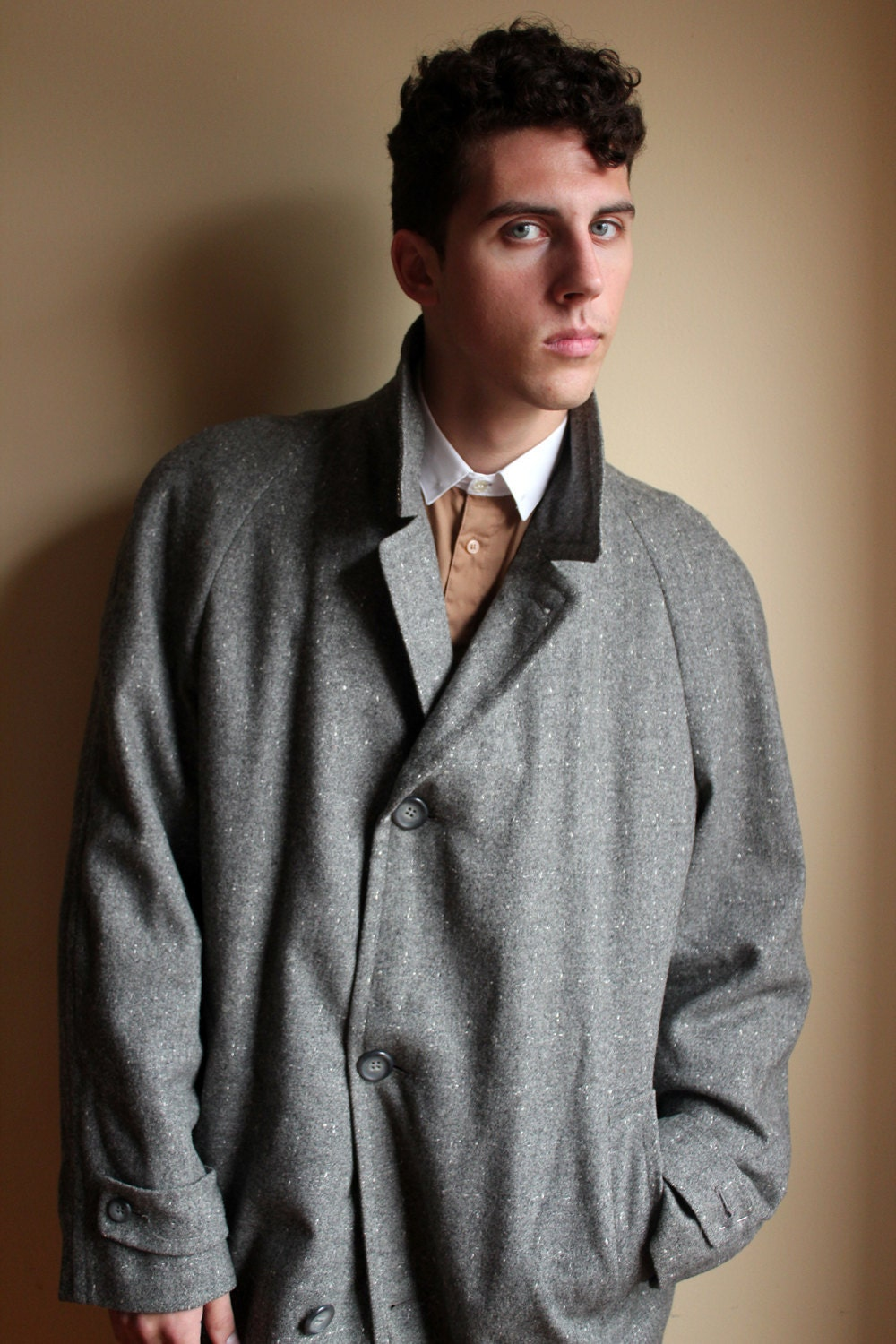 80s Grey Wool 'Say Anything' Overcoat