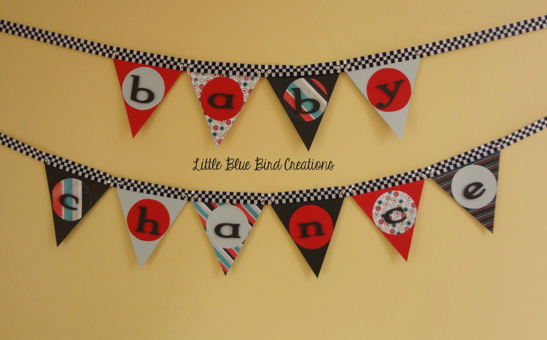 racing race car baby shower paper banner by littlebluebirdcreate